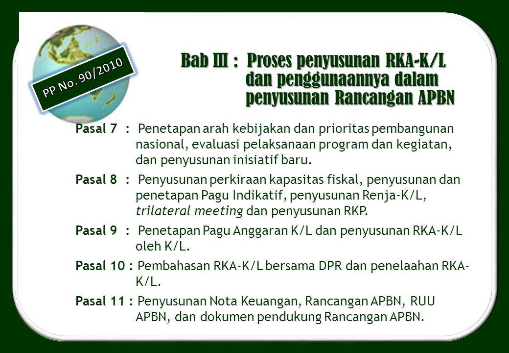 Bab III : Proses penyusunan RKA-K/L dan penggunaannya dalam penyusunan Rancangan APBN