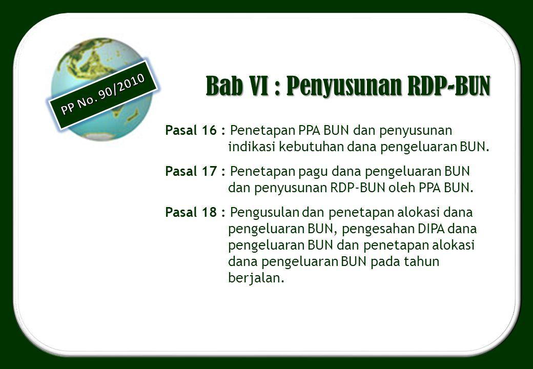 Bab VI : Penyusunan RDP-BUN