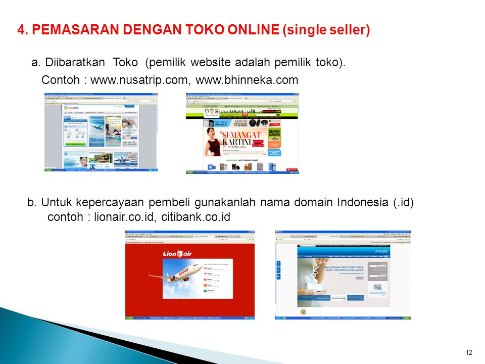 4. PEMASARAN DENGAN TOKO ONLINE (single seller)