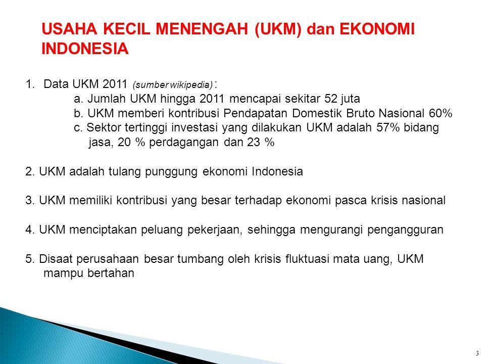 USAHA KECIL MENENGAH (UKM) dan EKONOMI INDONESIA
