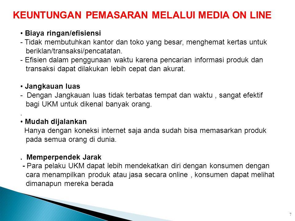 KEUNTUNGAN PEMASARAN MELALUI MEDIA ON LINE
