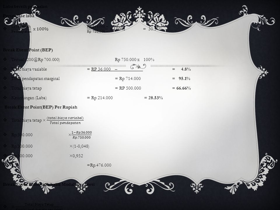 Laba bersih penjualan Persentase laba. Laba bersih Pendapatan x 100% Rp 214.000,− Rp 750,000,− x 100% = 30.57%