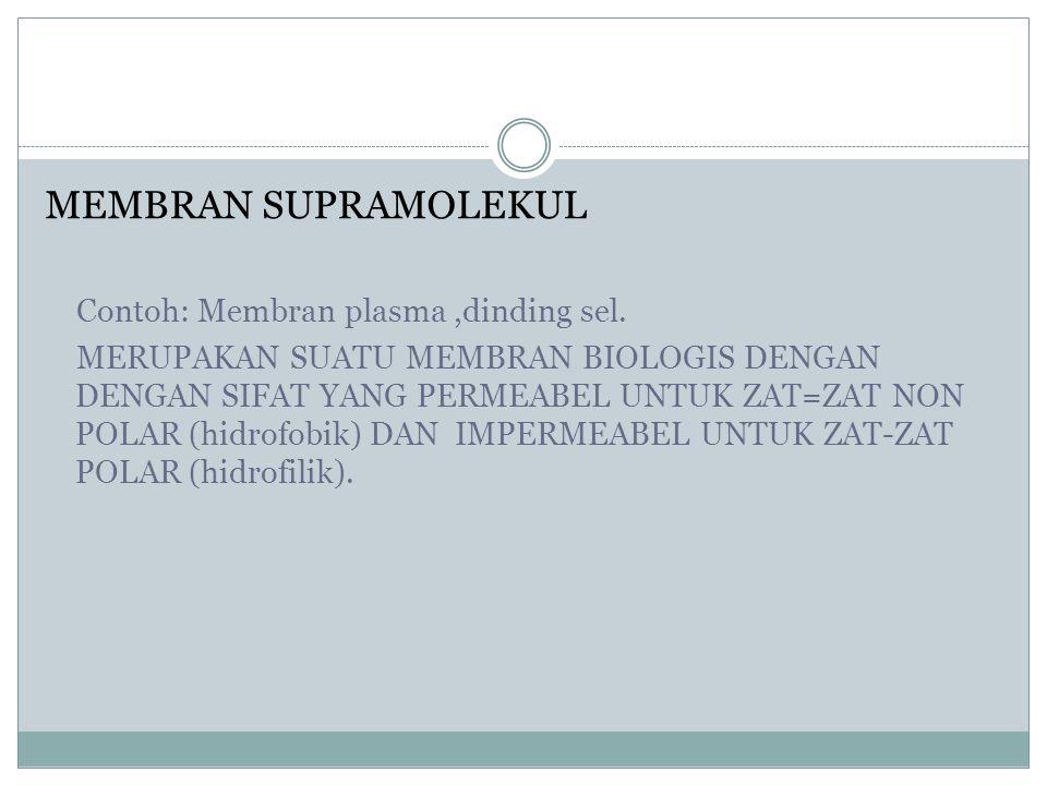 MEMBRAN SUPRAMOLEKUL Contoh: Membran plasma ,dinding sel.