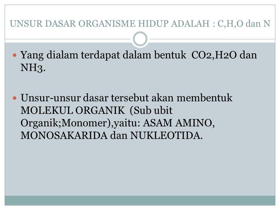 UNSUR DASAR ORGANISME HIDUP ADALAH : C,H,O dan N