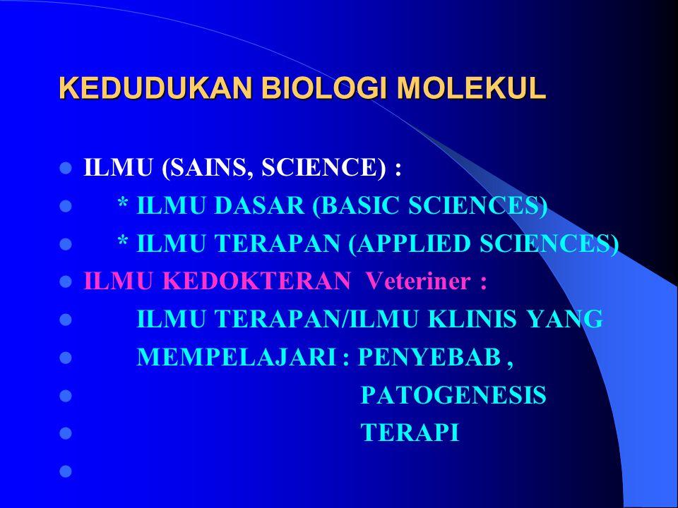 KEDUDUKAN BIOLOGI MOLEKUL