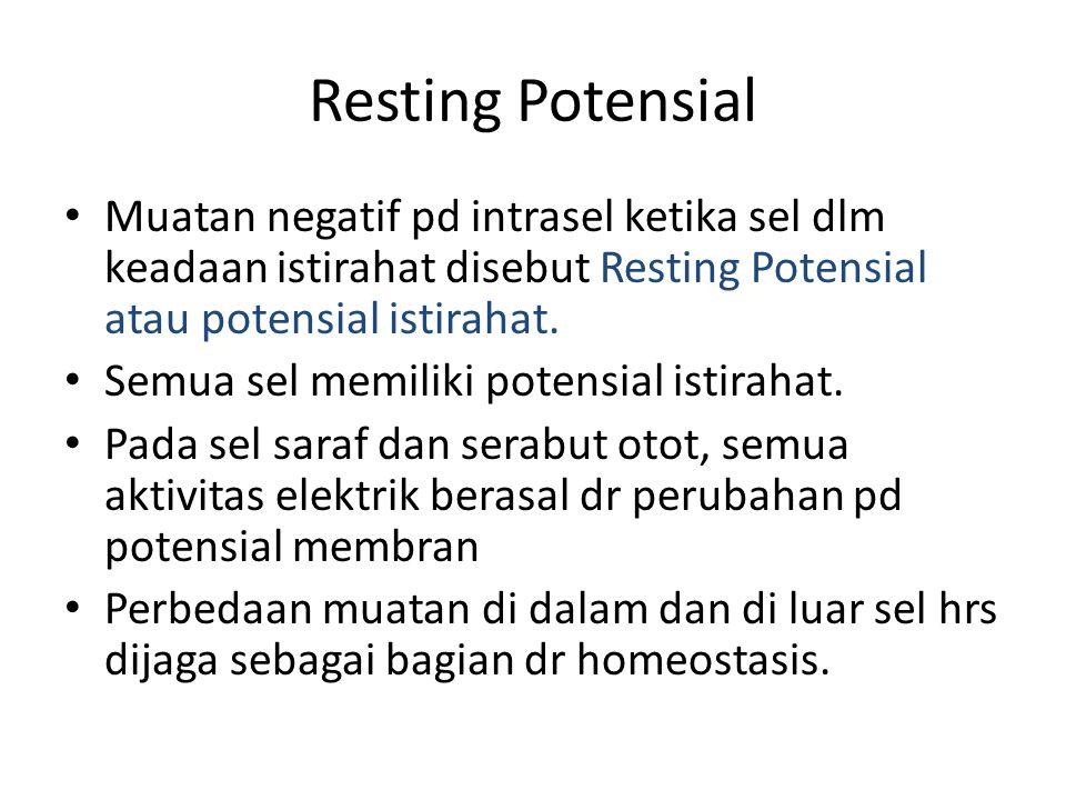Resting Potensial Muatan negatif pd intrasel ketika sel dlm keadaan istirahat disebut Resting Potensial atau potensial istirahat.