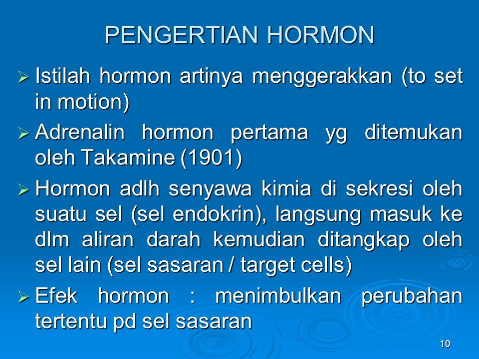 PENGERTIAN HORMON Istilah hormon artinya menggerakkan (to set in motion) Adrenalin hormon pertama yg ditemukan oleh Takamine (1901)
