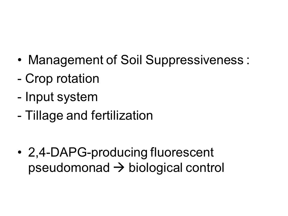 Management of Soil Suppressiveness :