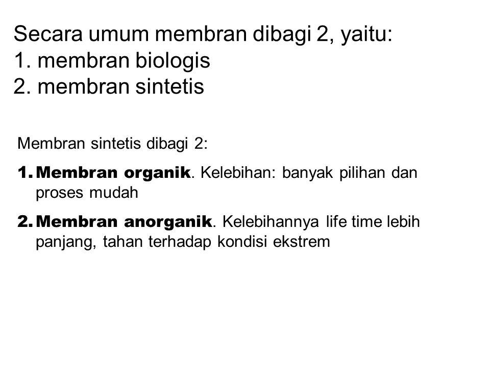 Secara umum membran dibagi 2, yaitu: 1. membran biologis 2