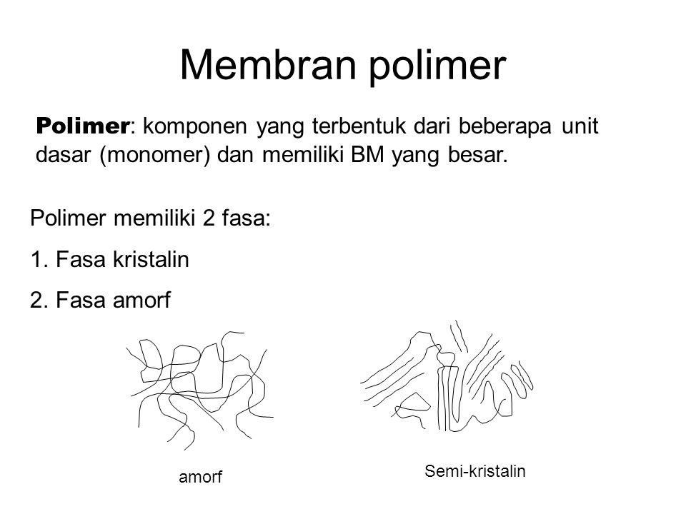 Membran polimer Polimer: komponen yang terbentuk dari beberapa unit dasar (monomer) dan memiliki BM yang besar.