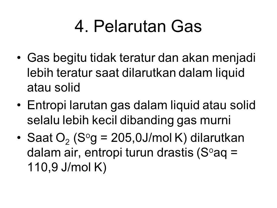 4. Pelarutan Gas Gas begitu tidak teratur dan akan menjadi lebih teratur saat dilarutkan dalam liquid atau solid.