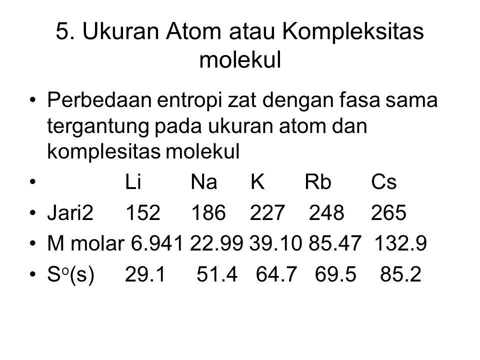 5. Ukuran Atom atau Kompleksitas molekul