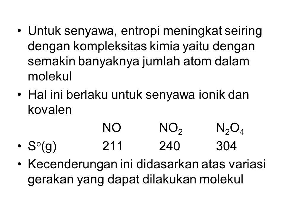 Untuk senyawa, entropi meningkat seiring dengan kompleksitas kimia yaitu dengan semakin banyaknya jumlah atom dalam molekul