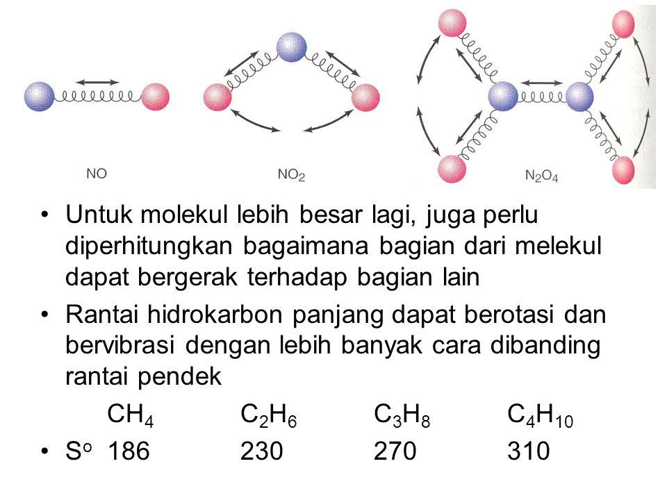 Untuk molekul lebih besar lagi, juga perlu diperhitungkan bagaimana bagian dari melekul dapat bergerak terhadap bagian lain