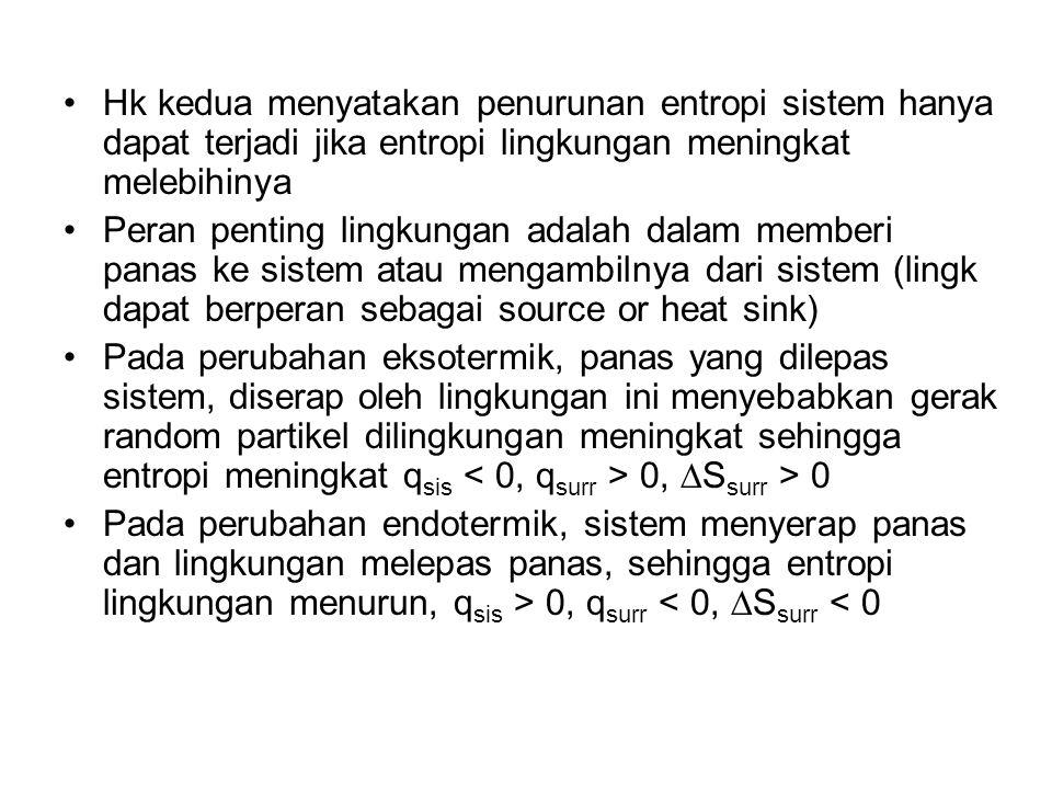 Hk kedua menyatakan penurunan entropi sistem hanya dapat terjadi jika entropi lingkungan meningkat melebihinya