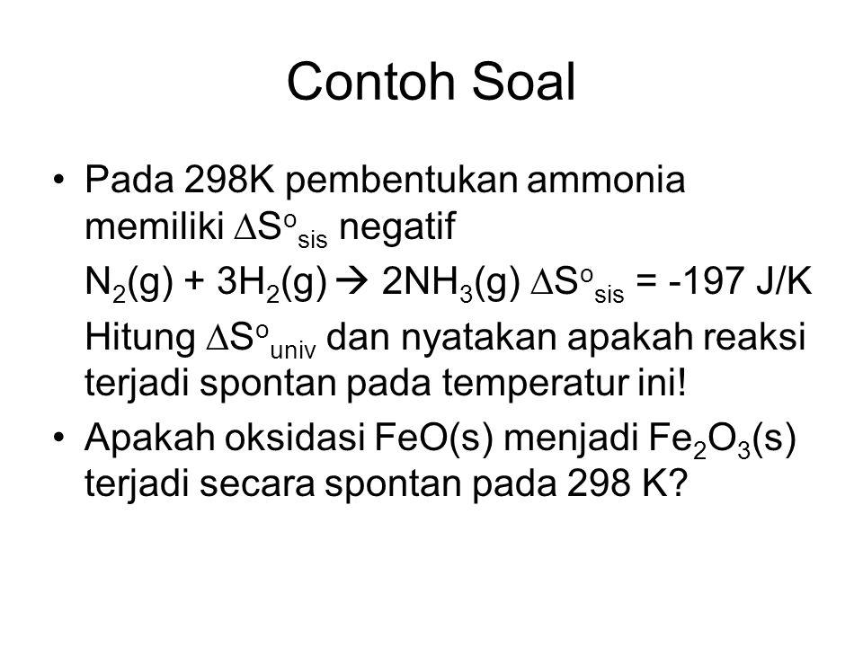 Contoh Soal Pada 298K pembentukan ammonia memiliki Sosis negatif