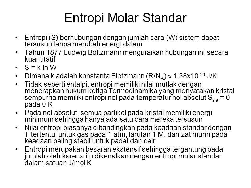 Entropi Molar Standar Entropi (S) berhubungan dengan jumlah cara (W) sistem dapat tersusun tanpa merubah energi dalam.