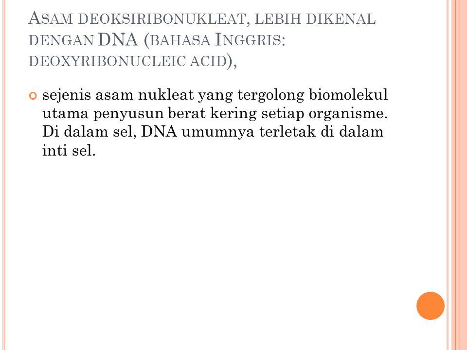 Asam deoksiribonukleat, lebih dikenal dengan DNA (bahasa Inggris: deoxyribonucleic acid),