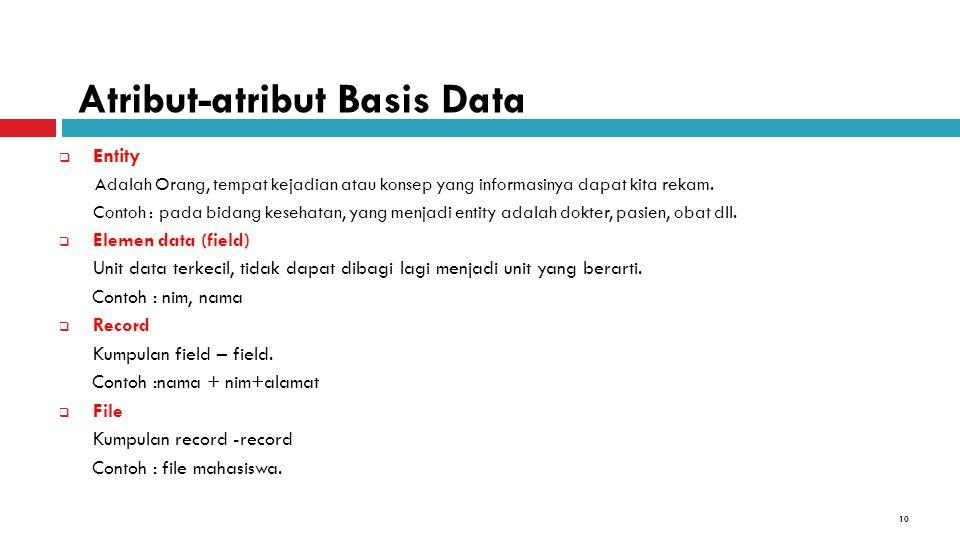 Atribut-atribut Basis Data
