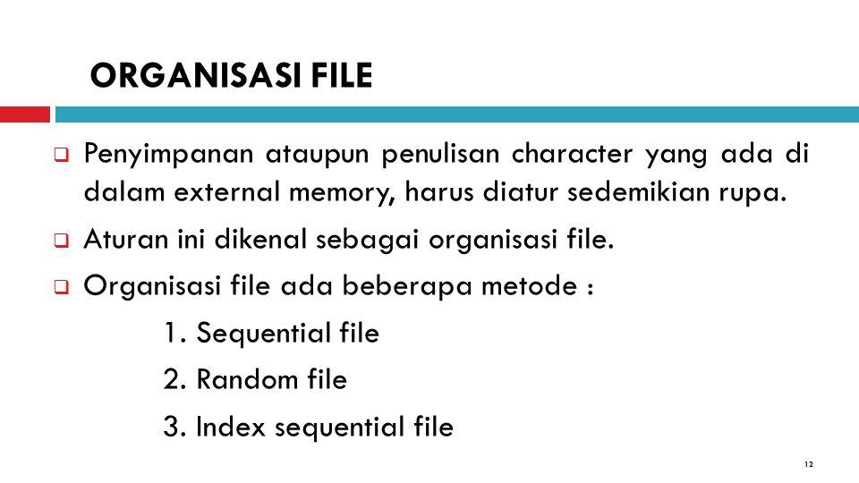 ORGANISASI FILE Penyimpanan ataupun penulisan character yang ada di dalam external memory, harus diatur sedemikian rupa.