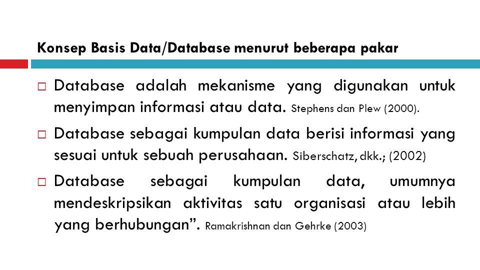 Konsep Basis Data/Database menurut beberapa pakar