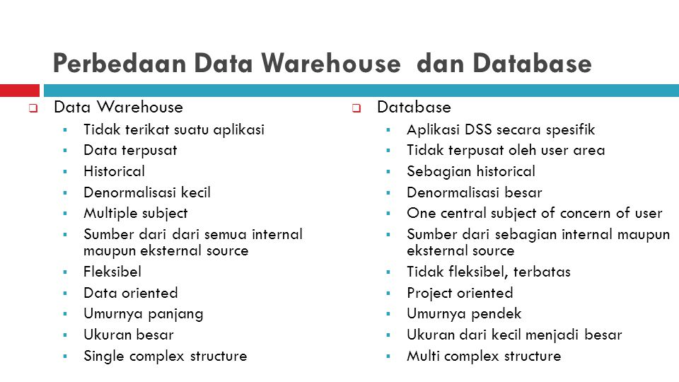Perbedaan Data Warehouse dan Database