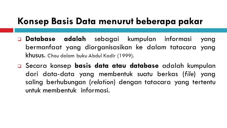 Konsep Basis Data menurut beberapa pakar