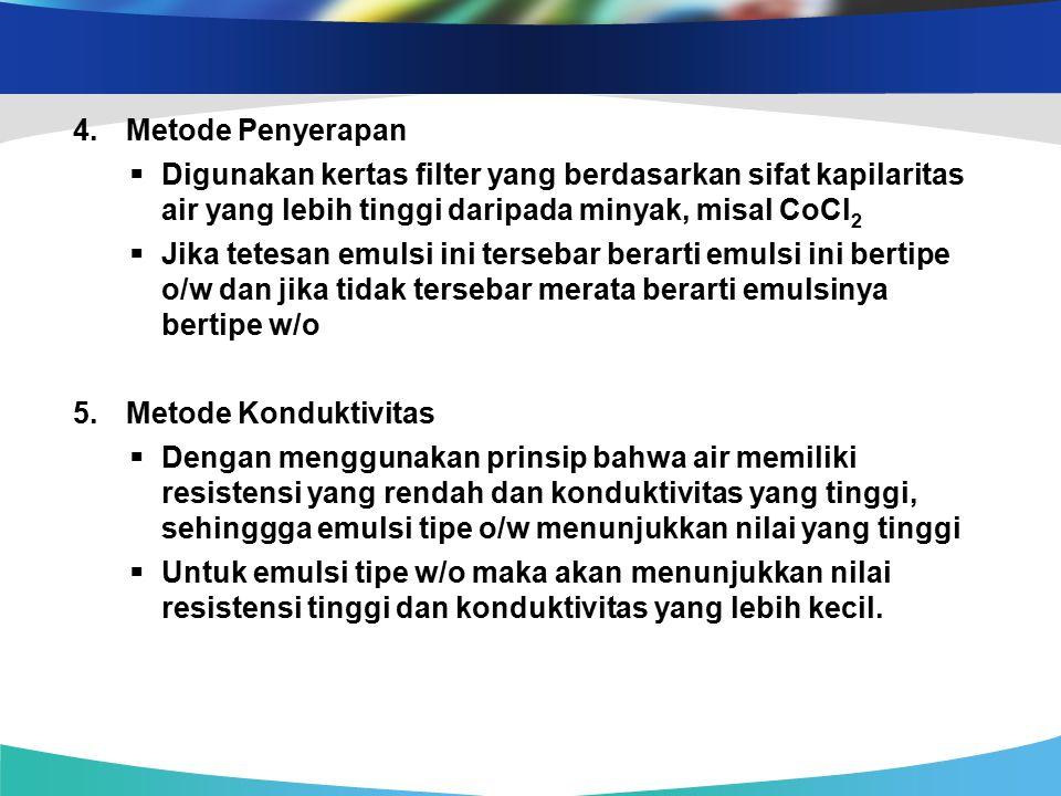 Metode Penyerapan  Digunakan kertas filter yang berdasarkan sifat kapilaritas air yang lebih tinggi daripada minyak, misal CoCl2.