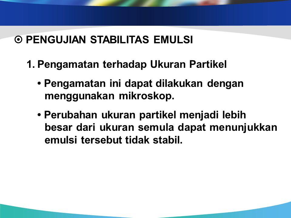  PENGUJIAN STABILITAS EMULSI 1. Pengamatan terhadap Ukuran Partikel