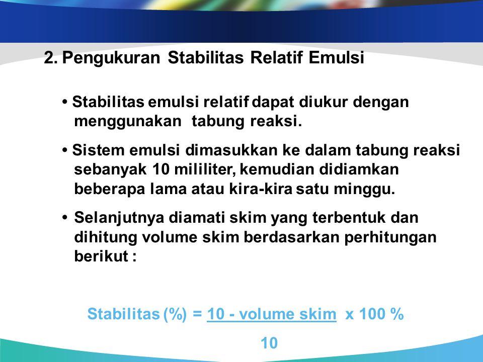 2. Pengukuran Stabilitas Relatif Emulsi