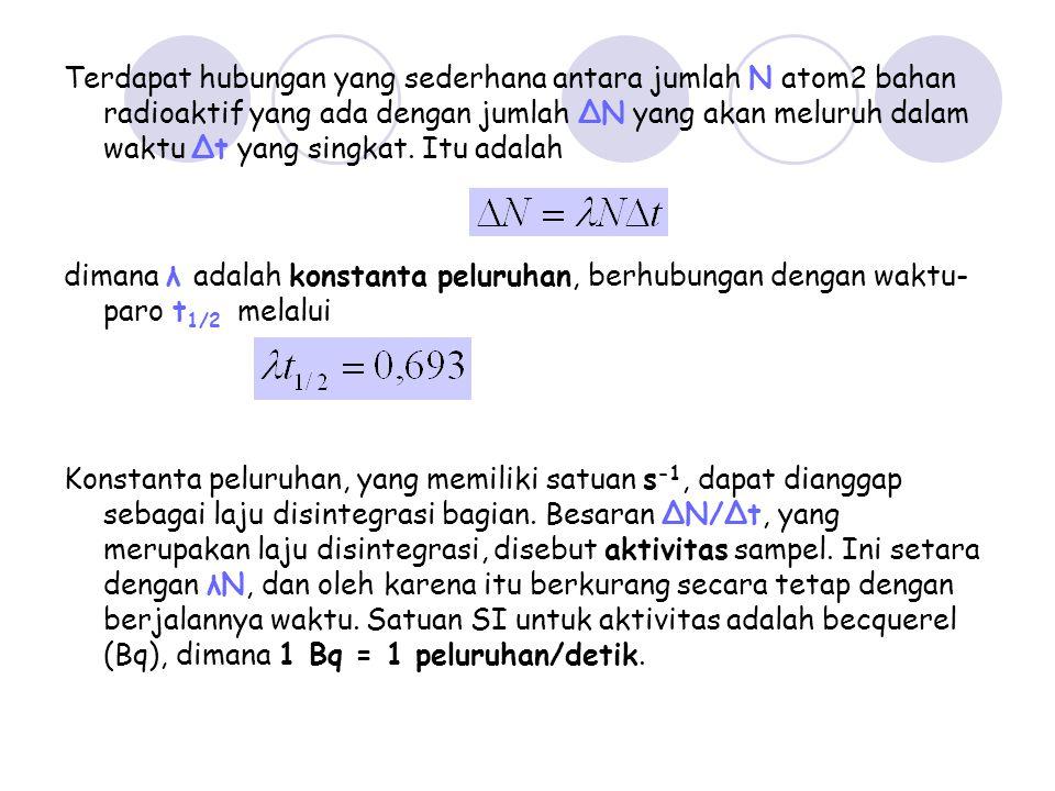Terdapat hubungan yang sederhana antara jumlah N atom2 bahan radioaktif yang ada dengan jumlah ΔN yang akan meluruh dalam waktu Δt yang singkat. Itu adalah