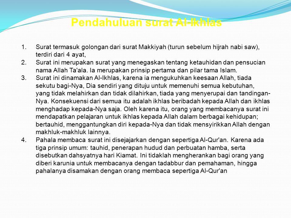 Pendahuluan surat Al-Ikhlas