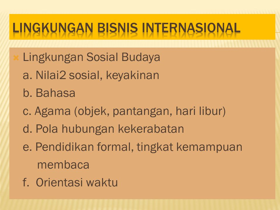 Lingkungan bisnis internasional
