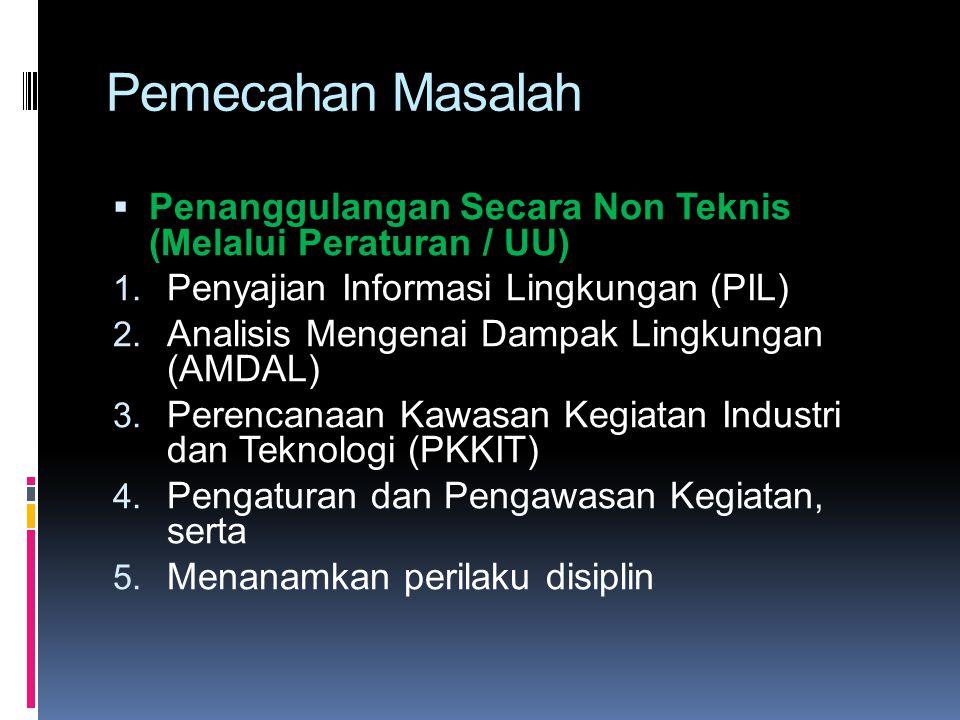 Pemecahan Masalah Penanggulangan Secara Non Teknis (Melalui Peraturan / UU) Penyajian Informasi Lingkungan (PIL)