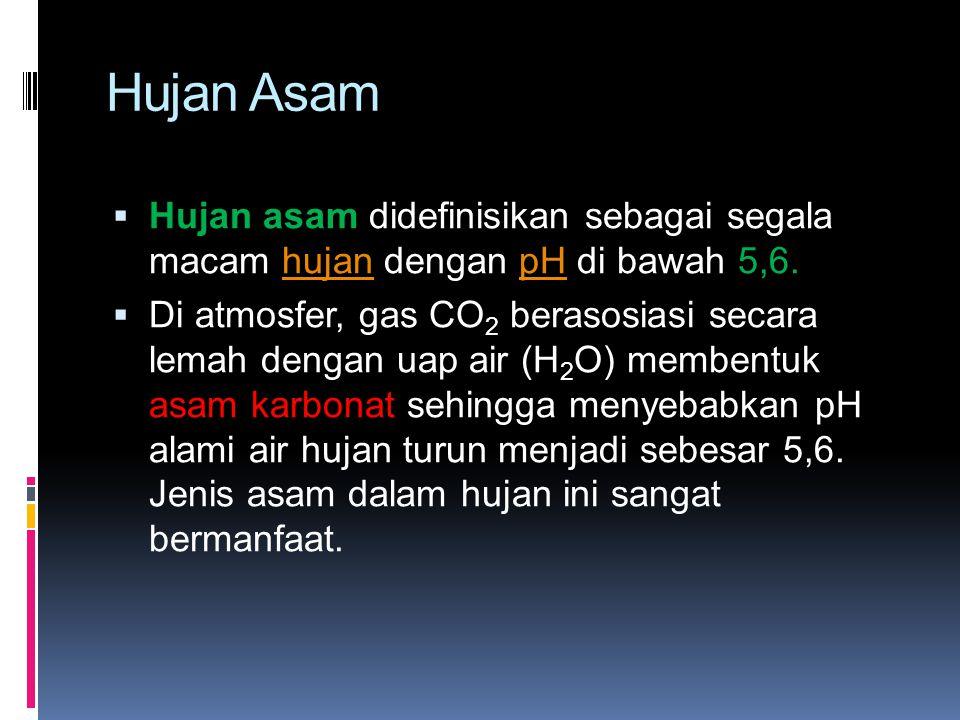 Hujan Asam Hujan asam didefinisikan sebagai segala macam hujan dengan pH di bawah 5,6.