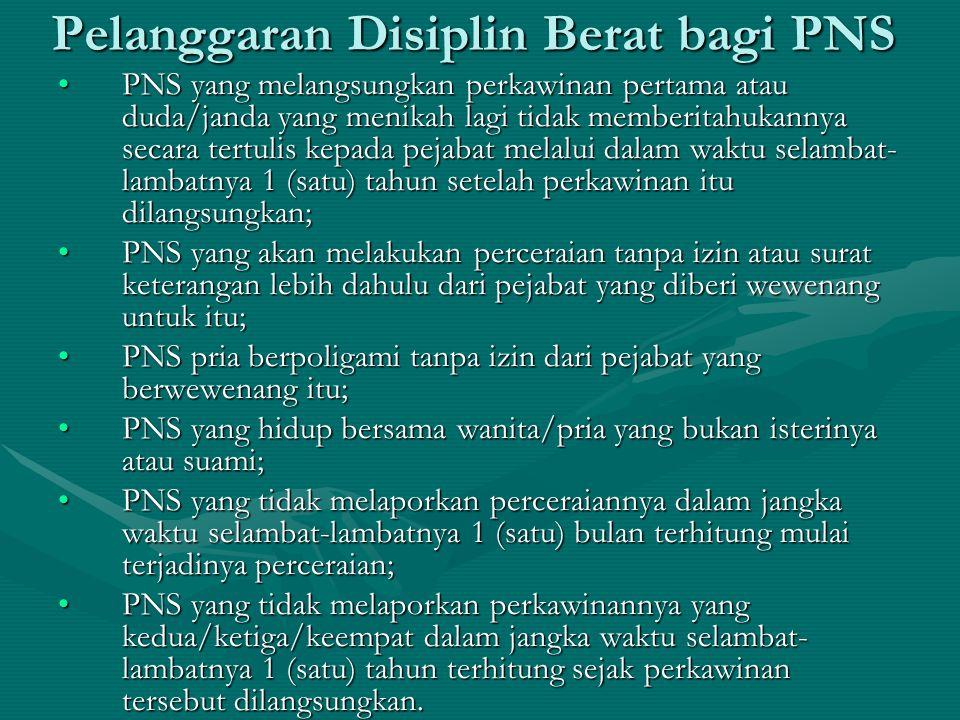 Pelanggaran Disiplin Berat bagi PNS