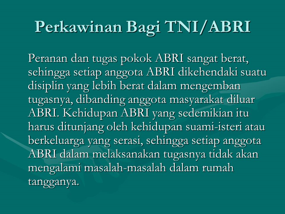 Perkawinan Bagi TNI/ABRI