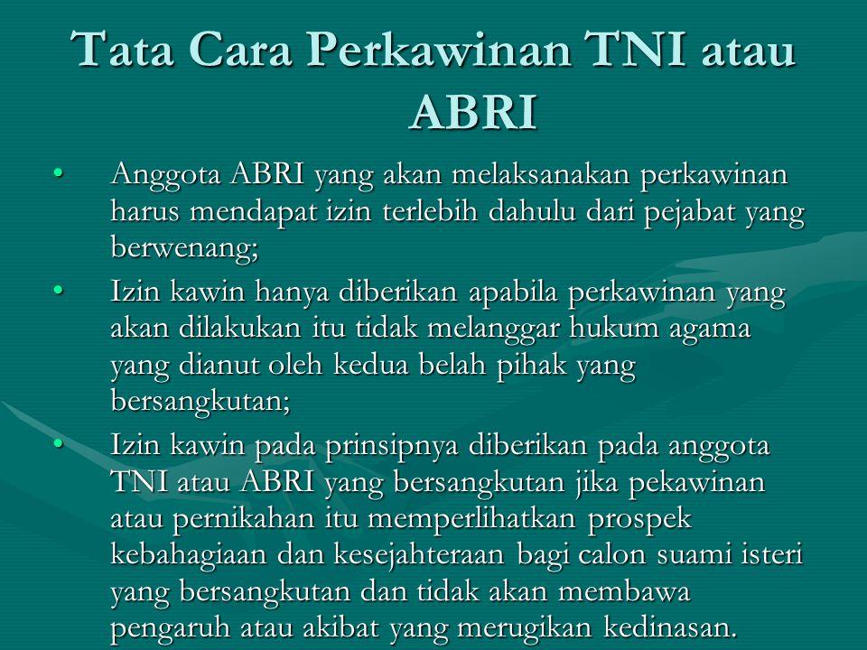 Tata Cara Perkawinan TNI atau ABRI