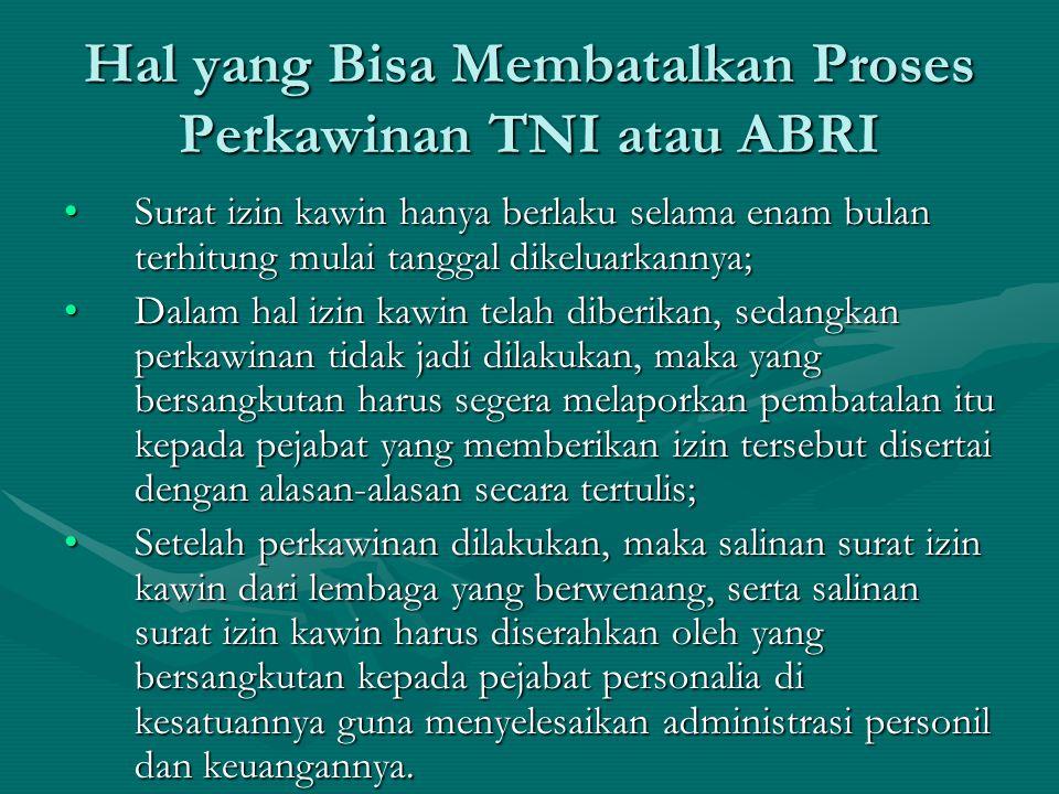 Hal yang Bisa Membatalkan Proses Perkawinan TNI atau ABRI