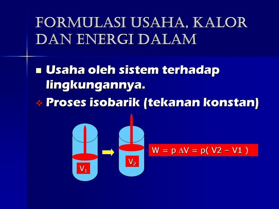 Formulasi usaha, kalor dan Energi dalam