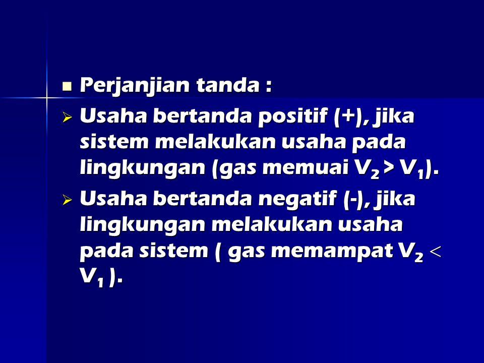 Perjanjian tanda : Usaha bertanda positif (+), jika sistem melakukan usaha pada lingkungan (gas memuai V2 > V1).