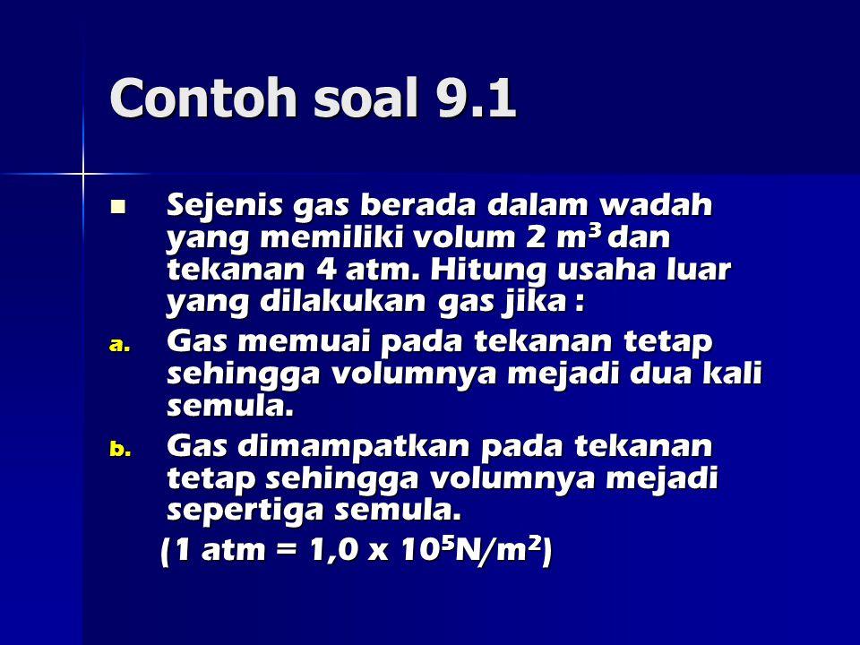 Contoh soal 9.1 Sejenis gas berada dalam wadah yang memiliki volum 2 m3 dan tekanan 4 atm. Hitung usaha luar yang dilakukan gas jika :