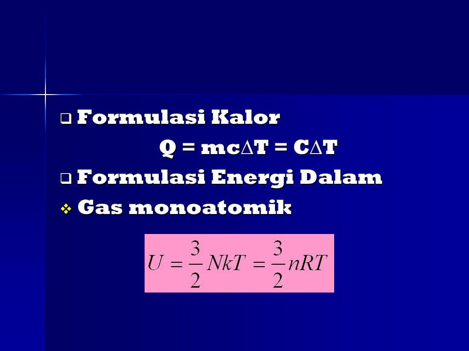 Formulasi Kalor Q = mcT = CT Formulasi Energi Dalam Gas monoatomik