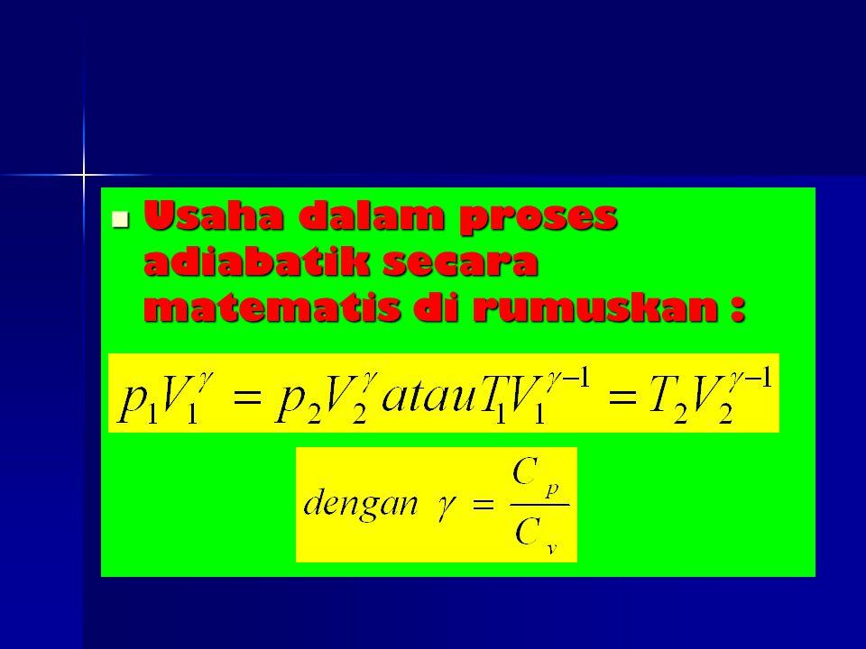 Usaha dalam proses adiabatik secara matematis di rumuskan :