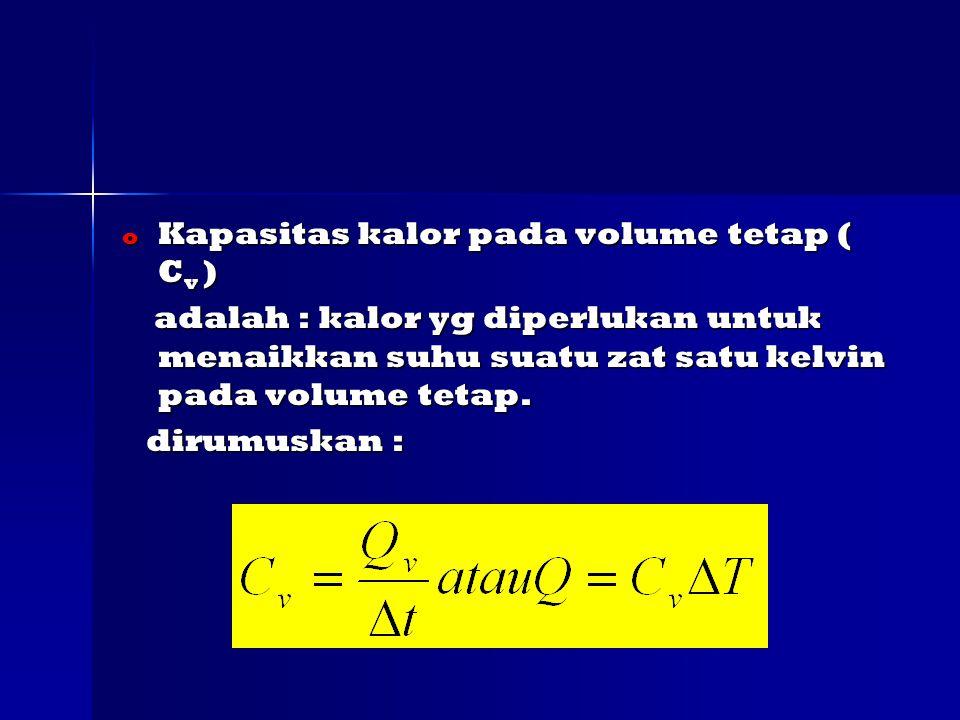 Kapasitas kalor pada volume tetap ( Cv )