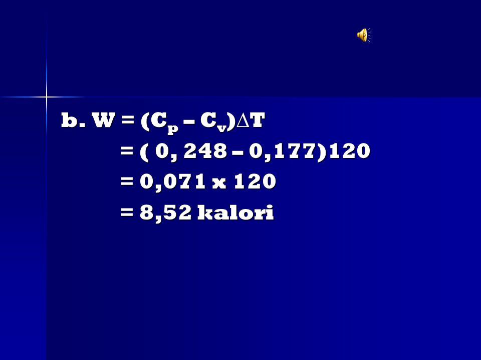 b. W = (Cp – Cv)T = ( 0, 248 – 0,177)120 = 0,071 x 120 = 8,52 kalori