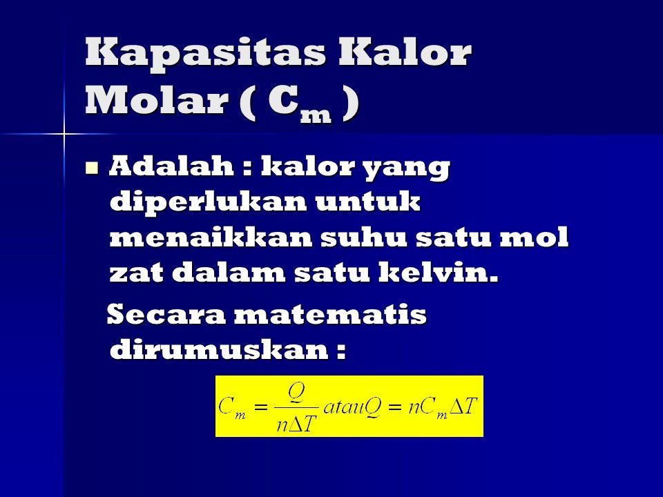 Kapasitas Kalor Molar ( Cm )