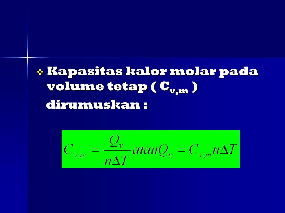 Kapasitas kalor molar pada volume tetap ( Cv,m )