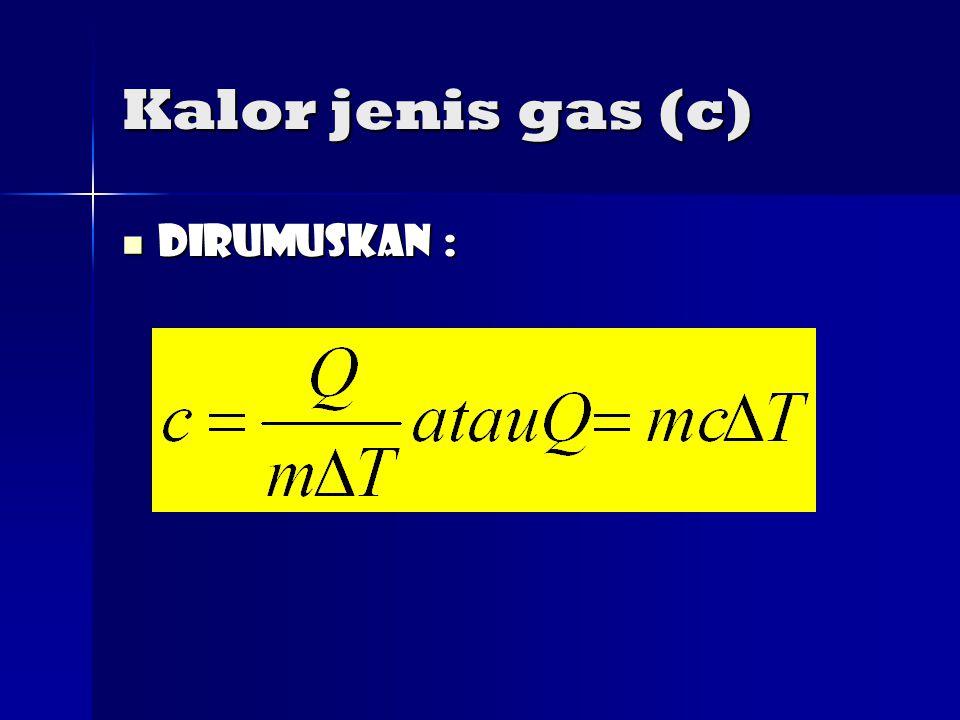 Kalor jenis gas (c) Dirumuskan :