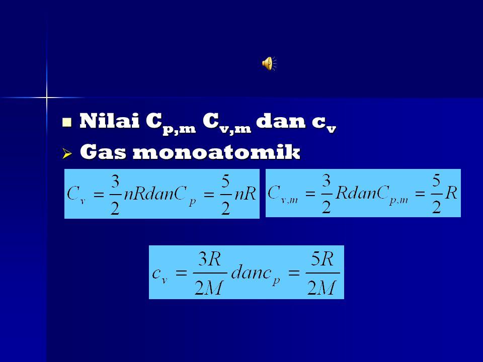 Nilai Cp,m Cv,m dan cv Gas monoatomik